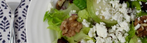 Healthy toasted walnut & cranberry salad with feta and honey-poppy seed dressing